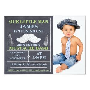 Chalkboard Little Man Mustache Birthday Invitations