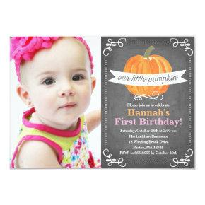 Chalkboard Little Pumpkin Birthday Invitations