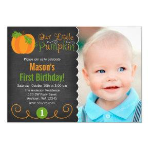 Chalkboard Little Pumpkin Green Orange Birthday Invitations