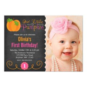 Chalkboard Little Pumpkin Pink Orange Birthday Invitations