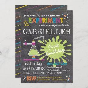 Chalkboard Mad Science Party Birthday Invitation