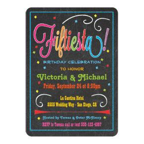 Chalkboard Mexican Fiesta 50th Party Invitation