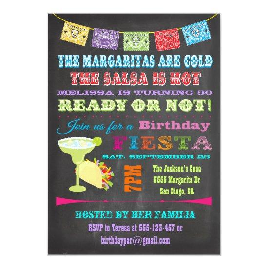 chalkboard mexican fiesta birthday party invitations candied clouds