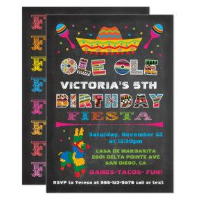 Chalkboard Mexican Fiesta Birthday Party Invitation
