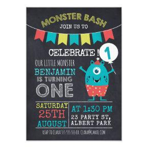 Chalkboard Monster 1sr Birthday Invitations