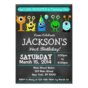 Chalkboard Monster First Birthday Invitations