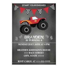 Chalkboard Monster Truck Birthday Invitations