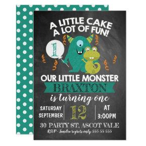 Chalkboard Monsters 1st Birthday Invitations