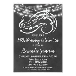 Chalkboard Music Birthday Party Invitations Adult