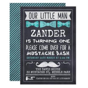 Chalkboard Mustache 1st Birthday Invitations