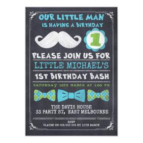 Chalkboard Mustache 1st Birthday Invitation