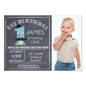 Chalkboard mustache 1st Birthday Party Invitations
