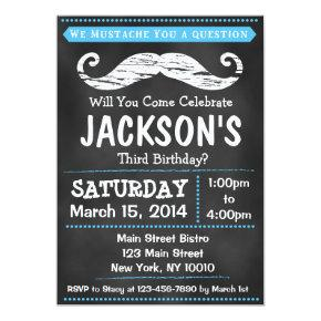 Chalkboard Mustache Birthday Party Invitations