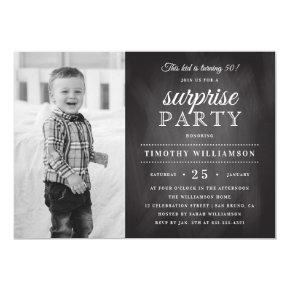 Chalkboard | Old & New Photo Surprise Birthday Invitations