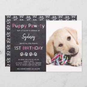 Chalkboard Pawty Puppy Dog Birthday Invitation