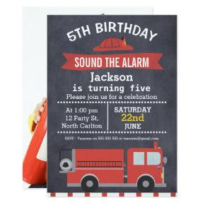 Chalkboard Photo Fire Truck Birthday Invitations