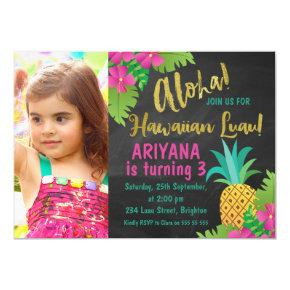 Chalkboard Photo Hawaiian Luau Birthday Invitations