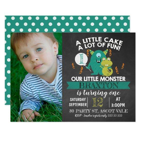 Chalkboard photo monsters 1st birthday invitation candied clouds chalkboard photo monsters 1st birthday invitation filmwisefo