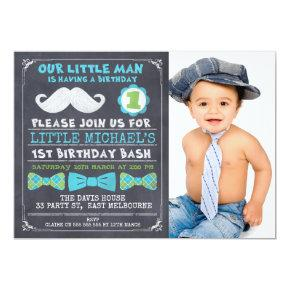 Chalkboard Photo Mustache 1st Birthday Invitations
