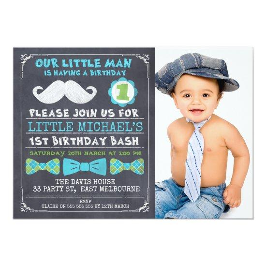 Chalkboard photo mustache 1st birthday invitations candied clouds chalkboard photo mustache 1st birthday invitations filmwisefo