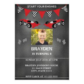 Chalkboard Photo Race Car Birthday Invitations