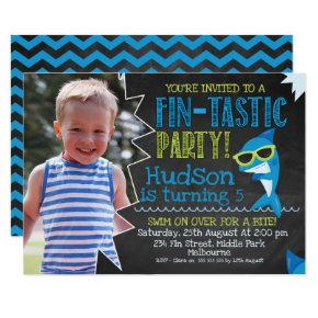 Chalkboard Photo Sharks Fin-tastic Birthday Invite