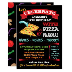 Chalkboard Pizza & Pajamas Birthday Party Invitation
