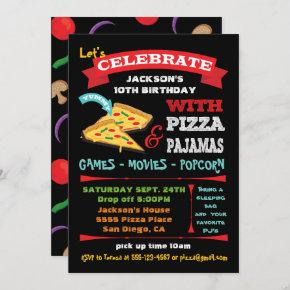 Chalkboard Pizza & Pajamas Birthday Party Invitation