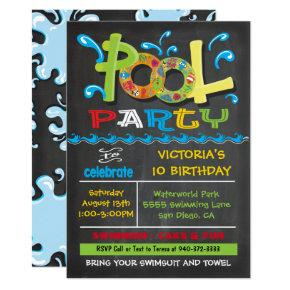 Chalkboard Pool Party with water splashes Invitation