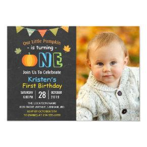 Chalkboard Pumpkin Baby First Birthday Photo Invitation