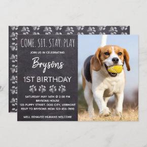 Chalkboard Puppy Dog Birthday Invitation