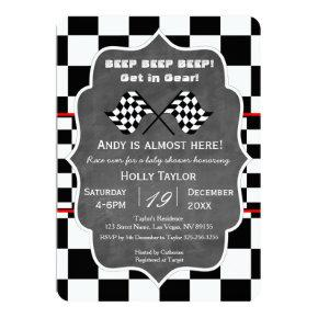 Chalkboard Racing Baby Shower Invitation