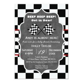 Chalkboard Racing Birthday Invitation