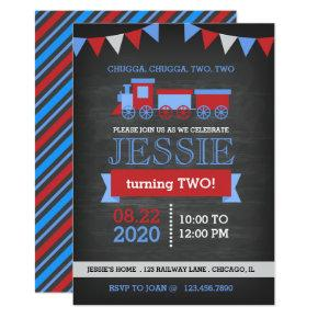 Chalkboard Red and Blue Train Birthday Invitations