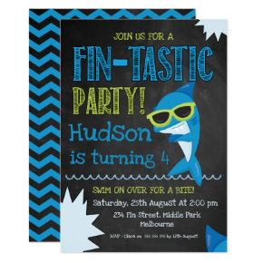chalkboard Shark Birthday invitation