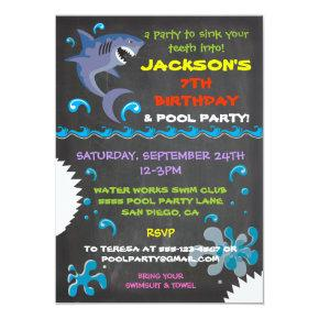 Chalkboard Shark Pool Birthday Party