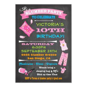 Chalkboard Sleepover Slumber Party Spa Birthday Invitation