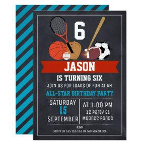 Chalkboard Sports Birthday Party Invitation