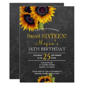 Chalkboard sunflowers chic rustic sweet sixteen card