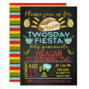 Chalkboard Taco Twosday 2nd Birthday Invitation
