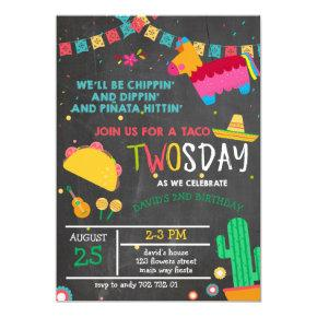 Chalkboard Taco Twosday Pinata Fiesta 2nd Birthday Invitation