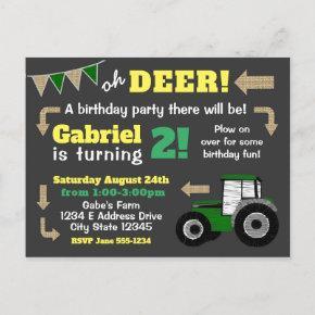Chalkboard Tractor Invite, Birthday Tractor Invitation Post