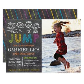 Chalkboard Trampoline Party Birthday Invitation