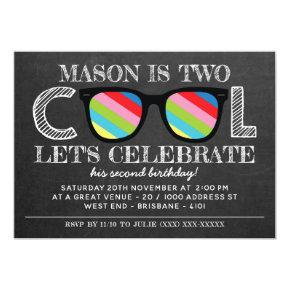 Chalkboard Two Cool Two Years Old Birthday Invitations