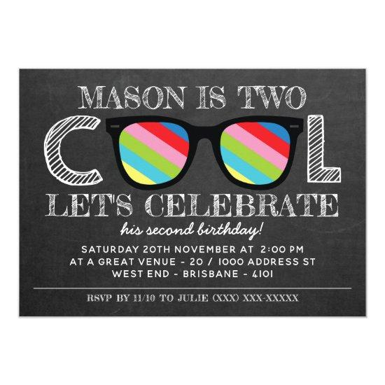 Chalkboard Two Cool Years Old Birthday Invitations