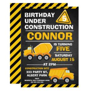 Chalkboard Under Construction Birthday Invitation