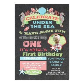 Chalkboard Under the Sea Birthday Party Invitation