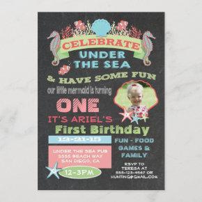 Chalkboard Under the Sea Birthday Party Invitation