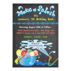 Chalkboard Water Balloon Birthday Pool Invitations