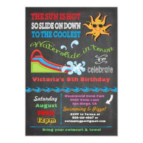 Chalkboard Water slide Pool birthday party Card